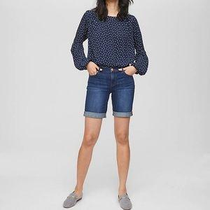 LOFT Denim Jean Cuffed Bermuda Shorts Size 14